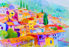 Free Watercolor Paintings Landscape Of Village View On Hill Mountain. Stock Images - 91910854