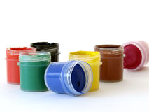 Watercolor paints 1. Set of the watercolor paints at the white background Stock Photos