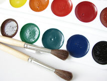 Watercolor paints. Set with paintbrushes Stock Photography