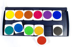 Watercolor paints. Set of colorful watercolor paints isolated on white background Royalty Free Stock Images