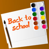Watercolor paints in box with brush. inscription on the paper. Back to school. Vector Royalty Free Stock Photography