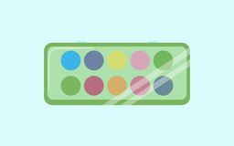 Watercolor paints box icon. Cartoon illustration of watercolor paints box vector icon for web design Stock Photos
