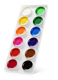 Watercolor paints in box isolated on white Royalty Free Stock Photos
