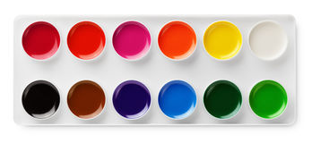 Watercolor paints in box isolated on white Stock Photo