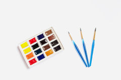 Watercolor paints and brushes. Brush and watercolor drawing pictures stock image