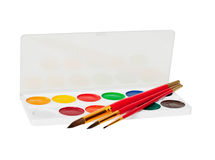 Watercolor paints and brushes on white Royalty Free Stock Photo