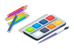Watercolor Paints Colorful Palette Box with Brush. Watercolor paints colorful palette in box with brush and pencils vector illustration isolated on white stock illustration