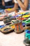 Watercolor paints Stock Photos