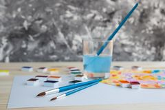 Watercolor paints and drawing supplies royalty free stock image