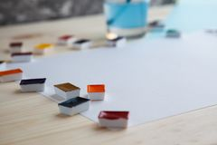 Watercolor paints and drawing supplies royalty free stock photography