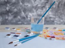 Watercolor paints and drawing supplies royalty free stock images