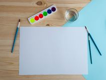 Watercolor paints and drawing supplies royalty free stock photo