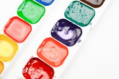 Watercolor paints for drawing on white background.  royalty free stock photos