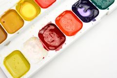 Watercolor paints for drawing on white background.  royalty free stock photo