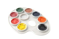 Watercolor paints over white Stock Photo