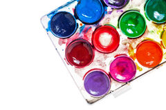 Watercolor paints. Paintbox Stock Photography