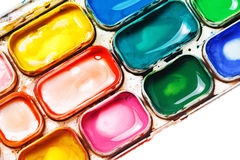 Watercolor paints. Paintbox Royalty Free Stock Photos