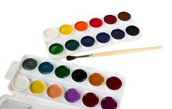 Watercolor paints and paintbrush Royalty Free Stock Image