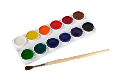 Watercolor paints and paintbrush Stock Photos