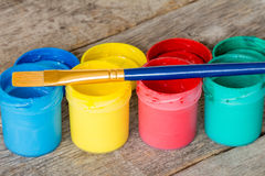 Watercolor paints with  paintbrush Stock Photos