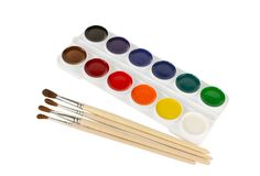 Watercolor paints and paintbrushes Royalty Free Stock Photo