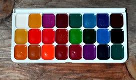 Watercolor paints palette Stock Image