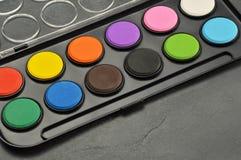 Close-up watercolor paints set in box. Watercolor paints set in box stock photos