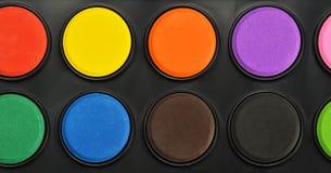 Close-up watercolor paints set in box. Watercolor paints set in box royalty free stock photos