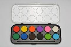 Close-up watercolor paints set in box. Watercolor paints set in box royalty free stock image