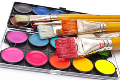 Watercolor paints set with brushes Stock Image