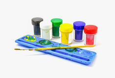 Watercolor paints set with brushes Stock Photography