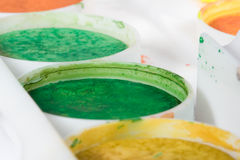 Watercolor paints set close up photo Royalty Free Stock Photography