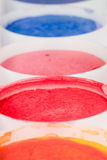 Watercolor paints set close up photo Royalty Free Stock Photos