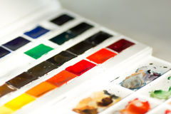 Watercolor paints set and palette stock photography
