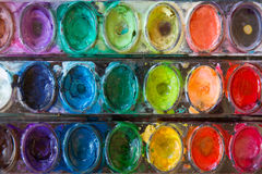 Watercolor Paints. A used palette of watercolor paints Stock Images