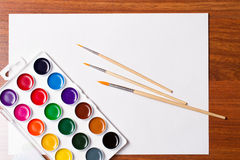 Watercolor paints on a white background Stock Images