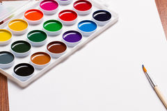Watercolor paints on a white background Royalty Free Stock Image
