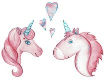 Watercolor pair of cute unicorns isolated on white background. stock illustration