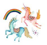 Watercolor pair of flying unicorns isolated on white background. Lovely unicorn in cartoon style. Hand painted fairy tale elements for kids, children design Stock Photos