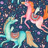 Watercolor pair of flying unicorns seamless pattern on background with bubbles and hearts