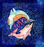 Watercolor pair of lovely dolphins. vector illustration