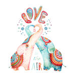 Watercolor pair of lovely elephants isolated on white background. Love is in the air - concept in cartoon style. Hand painted cute animal illustration Royalty Free Stock Images