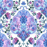 Watercolor paisley seamless background. Stock Images