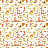 Watercolor paisley seamless background. stock illustration