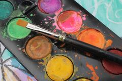 Watercolor palette Stock Image