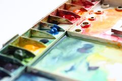 Watercolor palette Stock Photos