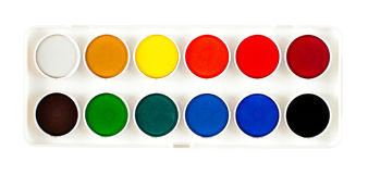 Watercolor palette. Simple watercolor palette isolated on white Stock Photo