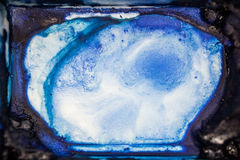 Watercolor Palette. cobalt blue.close up and macro. Royalty Free Stock Image