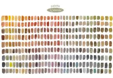 Watercolor palette with colored rectangles. Multicolored abstract hand painted background. Set of  brush strokes on white paper. vector illustration