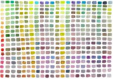 Watercolor palette with colored rectangles. Multicolored abstract hand painted background. royalty free illustration